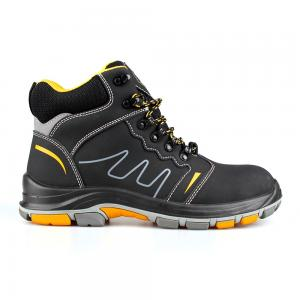 middle cut action nubuck upper safety shoes with PU/rubber sole (SN6076)